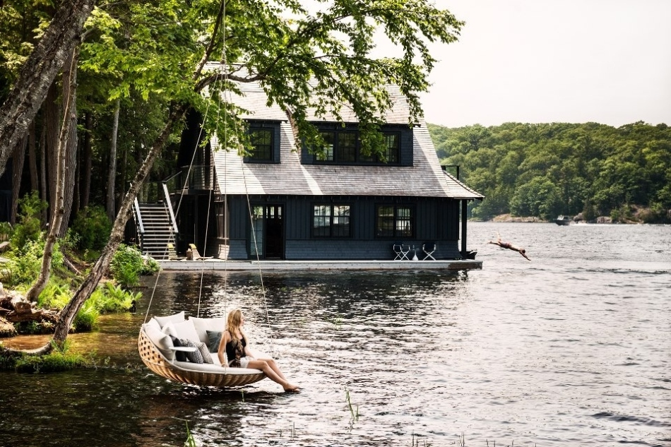 hanging hammock on Dedon Island.